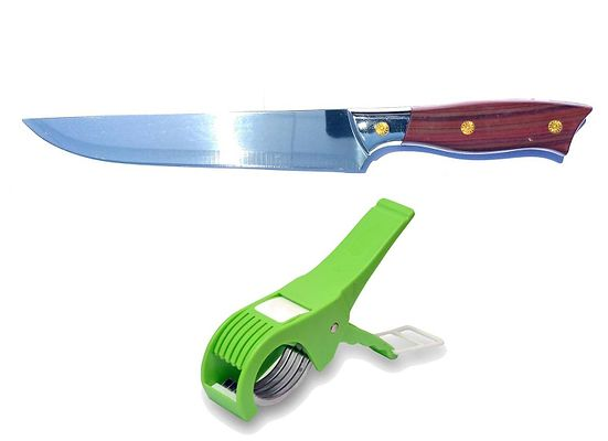 Combo of Long Bao Chef Knife with Wooden Handle / Grip (SILVER) + Vegetable Cutter (Multicolor)
