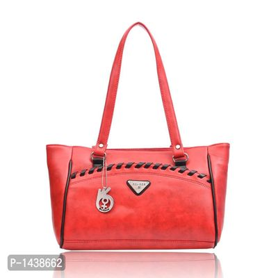 Red Solid Leatherette Handbag