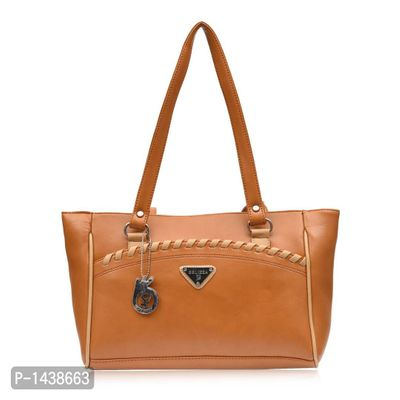 Tan Solid Leatherette Handbag