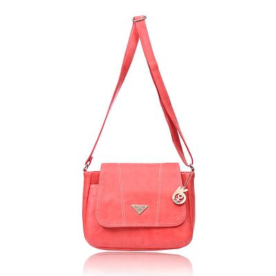 Peach Solid Leatherette Sling Bag