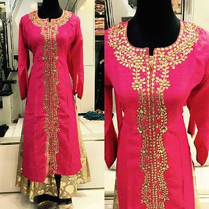 3 pictures   Tusar silk top with silk foil long inner....pure gota work...size -42...
