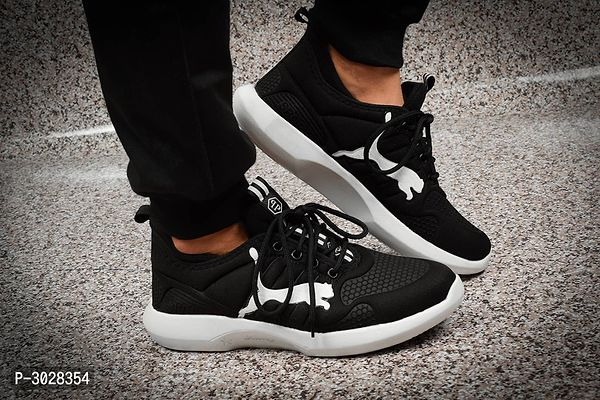 Black Mesh Solid Sports shoes For Men's