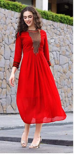 Red embroidered kurti 4196bk1059