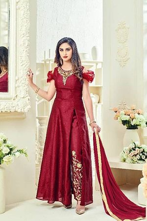 Maroon embroidered suit 4116bk723