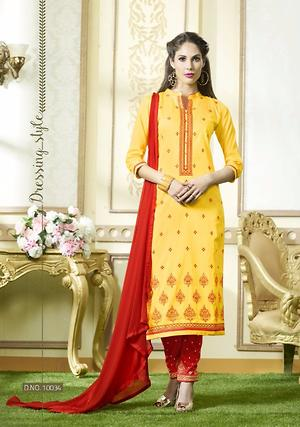 Yellow embroidered suit 4169bk10034