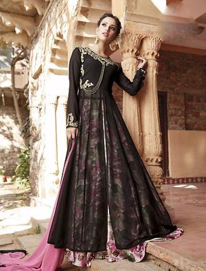 Fabulous black printed & embroidery semistitched evening wear dress 4468BK13036
