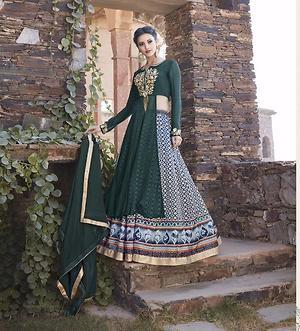 Gorgeous green with printed & embroidery semistitched evening wear dress 4468BK13037