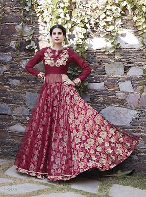 Heavy embroidery semistitched evening wear dress 4468BK13035