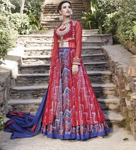 Red color with printed & embroidery semistitched evening wear dress 4468BK13031