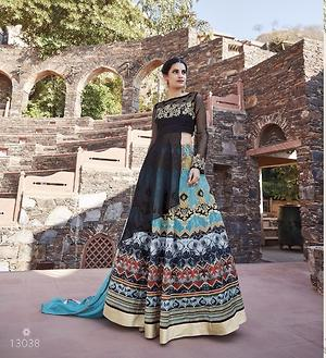 Banglori satin with printed & embroidery semistitched evening wear dress 4468BK13038