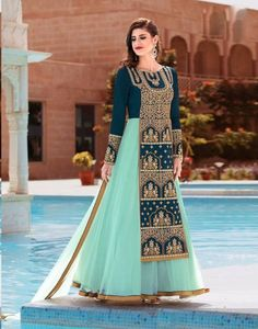 Fashionable navy blue embroidery and hand work salwar collection  4541BK2004