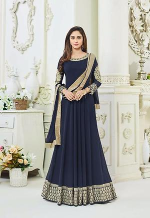 Navy blue with evening wear semistitched salwars4561BK754