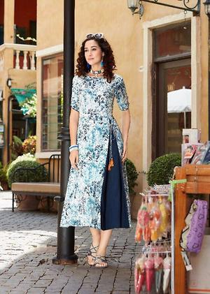 Exclusive printed kurtis with pattern on cotton and rayon 4688BK1001
