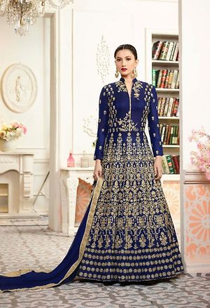 Soft Tapeta Silk With Hand Work Anarkali suit heavy Embroidered Semi-stitched Suit  4949BK12126