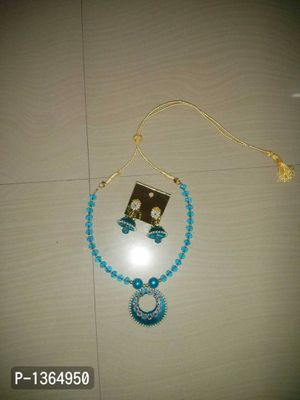 blue crystal &silk thread jewellery kids