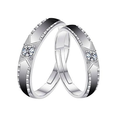 Silverplated Loveble Solitaire His And Her Adjustable Proposal Couple Ring For Men And Women Jewellery