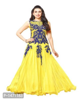 Yellow Printed Georgette Dress Material