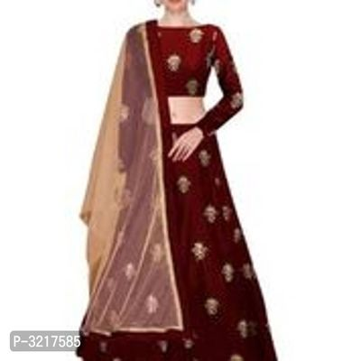Maroon Taffeta Silk Lehenga Choli With Net Dupatta
