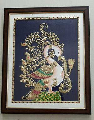 Tanjore style swan painting