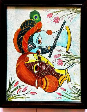 Beautiful Hand Painting Of Radha Krishna