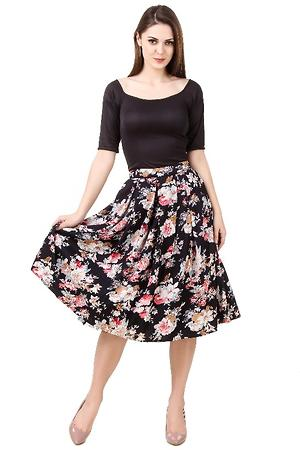 Two piece Black and floral Set