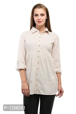 Cream Color Stripe Printed Shirt