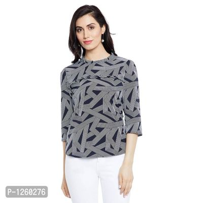 Black and Grey Color Printed Top