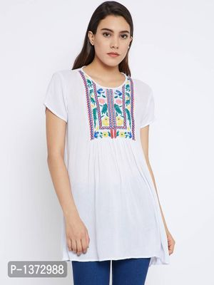 White Color Plain Embroidered Rayon Tunic