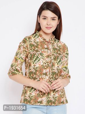 Multicoloured Floral Printed Crepe Top