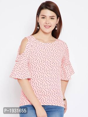 Peach  Dot Printed Cold Shoulder Sleeve Crepe Top