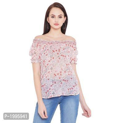 Pink Floral Printed Off Shoulder Chiffon Tunic