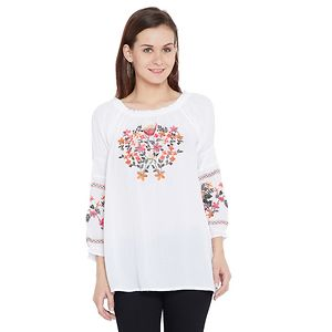 White Color Embroidred 3/4th Sleeve Rayon Top