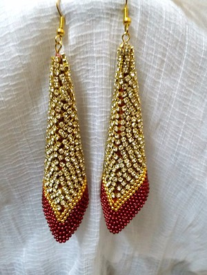 Red and Golden Dangle Handcrafted Earrings