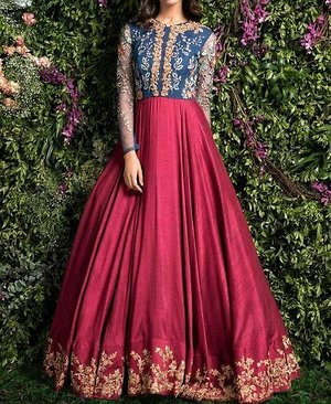 Blue and wine color embroidered dress