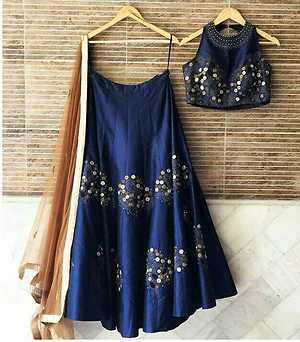blue color Raw silk lehenga with thread embroidery