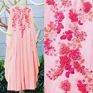 pink color georgette designer partywear dress with sequence emboridery