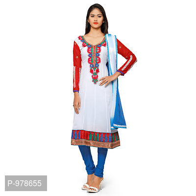 White & Blue Georgette Embroidered Dress Material