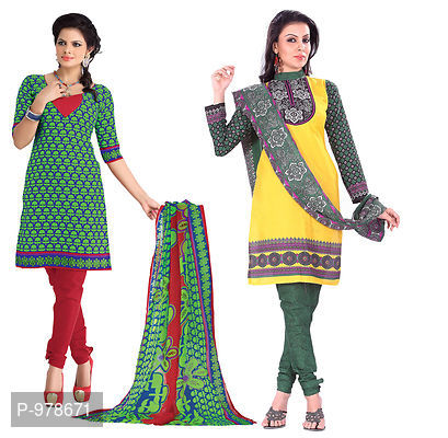 Pack of 2 Polycotton Printed Dress Material