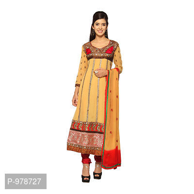 Mustard Georgette Embroidered Dress Material