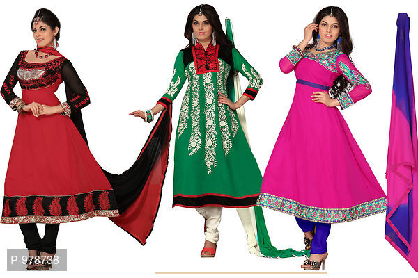Multi Color Combo Pack Of 3 Georgette Embroidered Dress Material