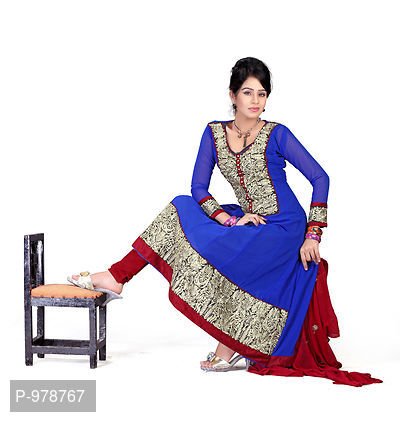 Party Wear Blue Chiffon Embrodried Dress Material