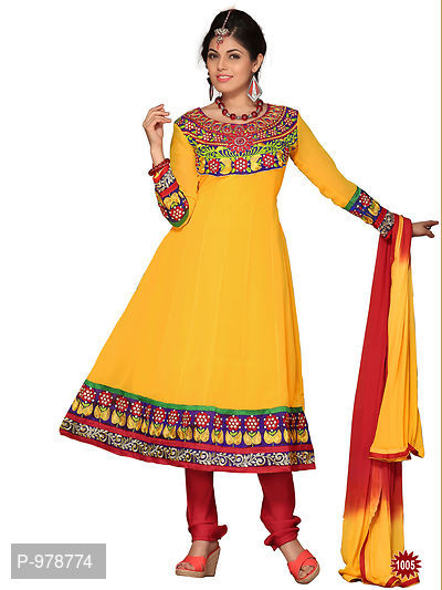 Embrodried Yellow Georgette Anarkali Dress Material