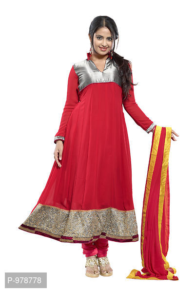Awesome Embrodried Pink Georgette Anarkali Dress Material