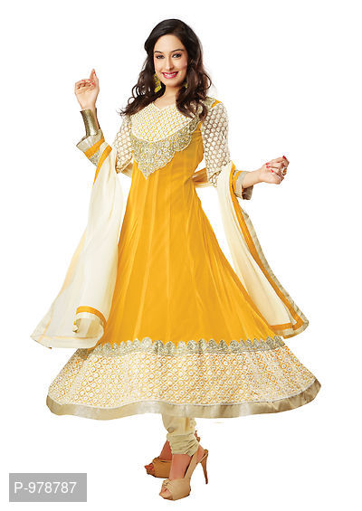 Awesome Embrodried Yellow And Pink Georgette Anarkali Dress Material