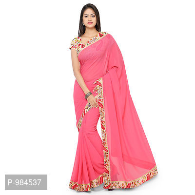 Pink FAUX GEORGETTE Embroidered Saree With Blouse