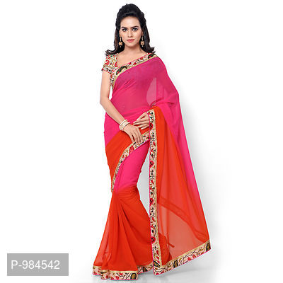 Pink & Orange Faux Georgette Embroidered Saree with Blouse
