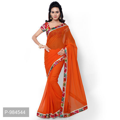 Orange Faux Georgette Embroidered Saree with Blouse