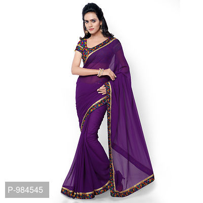 Purple Faux Georgette Embroidered Saree with Blouse