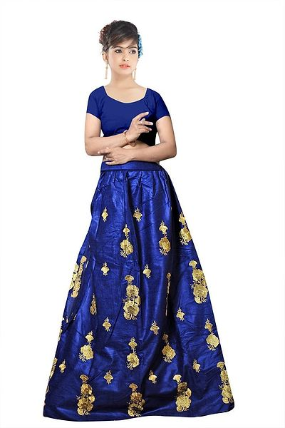 Blue Embroidered Velvet LehengaCholi
