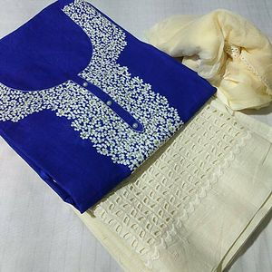 Lawn Cotton Top With Rice Work on Neck